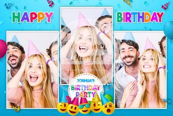 photo booth emoji-birthday-postcard
